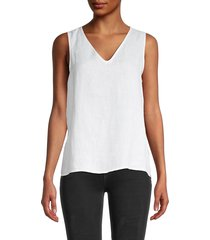 saks fifth avenue women's v-neck linen tank top - piper stripe - size m