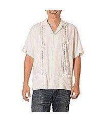 men's cotton guayabera shirt, 'handsome lines' (el salvador)