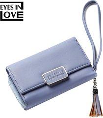 billetera mujeres- monedero de la borla de la borla de-azul