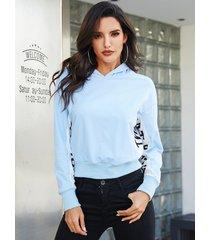 yoins azul con capucha diseño carta patrón patchwork capucha
