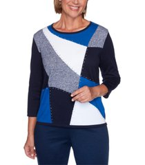 alfred dunner petite vacation mode embellished colorblock sweater