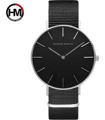 reloj de correa de nylon de los hombres de la cara-gris
