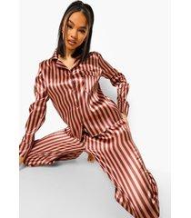 gestreepte satijnen monochrome pyjama set, chocolate