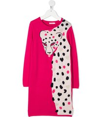 billieblush leopard-intarsia sweater dress - pink