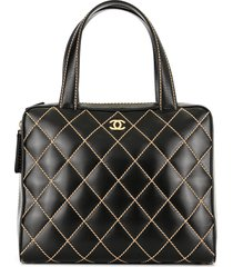 chanel pre-owned wild stitch cc logos handbag - black