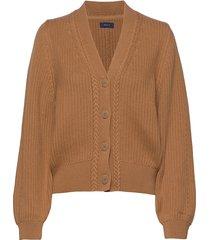 d1. ribbed v cardigan stickad tröja cardigan brun gant