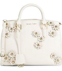 lined floral-appliqué faux leather satchel