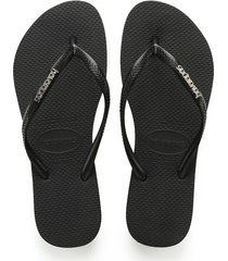 sandalias havaianas slim logo metallic negro 4119875
