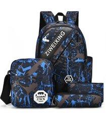 mochila/ camuflaje para adolescentes bolsas de hombro-azul