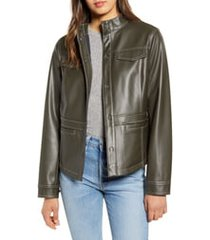 women's sam edelman faux leather shirt jacket, size large - green