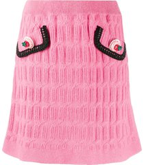 moschino strawberry-button textured-knit skirt - pink