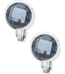 anne klein silver-tone blue button clip-on earrings