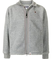 a bathing ape® boa ape head sherpa jacket - grey
