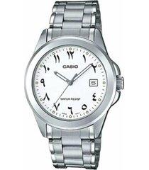 reloj analógico hombre casio mtp-1215a7b3 - plateado con blanco
