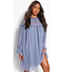 dobby high neck ruffle detail shift dress, blue