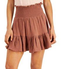 vanilla star juniors' cotton smocked mini skirt