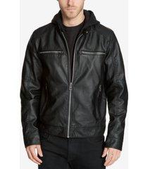 guess men's faux-leather detachable-hood motorcycle jacket
