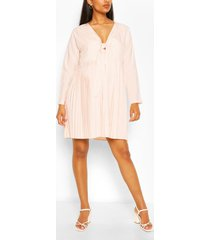 maternity tie pleated dress, pink