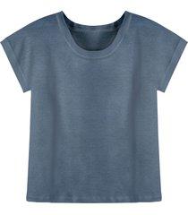 linnen-jersey shirt met korte mouw en ronde hals, nachtblauw 36/38