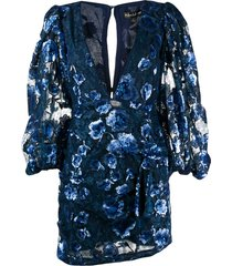 for love and lemons floral-embroidery mini dress - blue