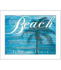 """trendy decor 4u beach - take me there by cindy jacobs, printed wall art, ready to hang, white frame, 18"""" x 14"""""""