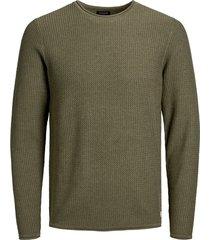 jack & jones trui 12164898 mode blucarlo knit crew neck dusky green - groen