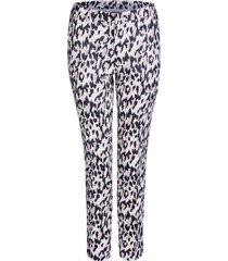 oui linnen/katoenen leopard print broek met zwarte bies aan de zijkant