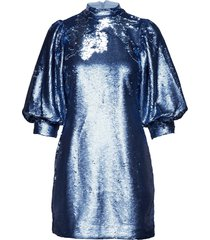 sequins mini dress kort klänning blå ganni