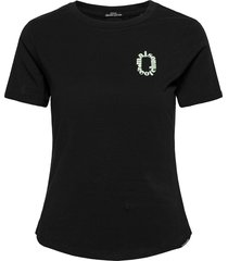 fitted tee in organic cotton quality with chest artwork t-shirts & tops short-sleeved svart scotch & soda