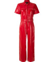 eva leather jumpsuit - red