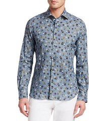 collection linen floral button-down shirt