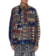 patchwork flannel plaid coach jacket