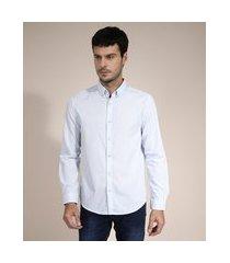 camisa comfort estampada xadrez vichy manga longa azul claro