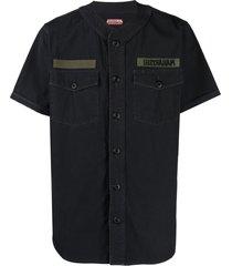 maharishi collarless military shirt - black