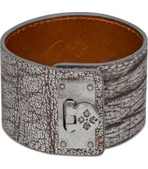 patricia nash silver-tone leather cuff bracelet