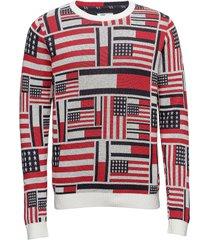 thdm iconic cn sweater l/s 14 gebreide trui met ronde kraag multi/patroon tommy jeans