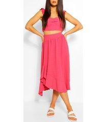 frill shoulder top & ruffle midi skirt, coral