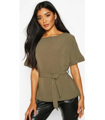 belted woven blouse, khaki