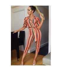 amber gestreepte culotte jumpsuit oranje
