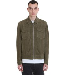 drome casual jacket in green leather