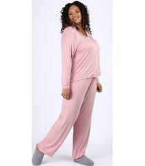 pijama feminino plus size camisa com vivo contrastante e bolso manga longa rosa