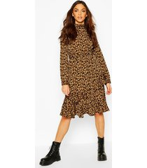 leopard print high neck ruffle midi dress, brown