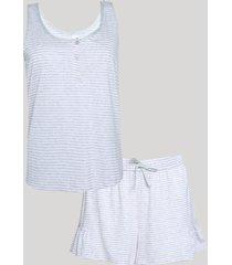 pijama feminino listrado com botões e babado regata cinza mescla claro