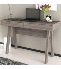 mesa escrivaninha 2 gavetas carvalho/carvalho me4128 - tecno mobili