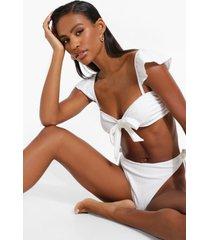 korte bride bikini top met textuur e#n strik, white