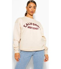 oversized california sweater met tekst, stone