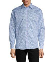 bertigo men's printed long-sleeve shirt - light blue - size s