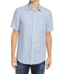 faherty regular fit short sleeve linen button-up shirt, size xx-large in blue basket weave at nordstrom