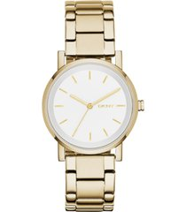dkny women's soho gold-tone stainless steel bracelet watch 34mm, created for macy's