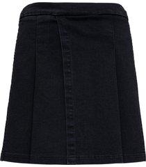 philosophy di lorenzo serafini pleated denim skirt with metal straps detail